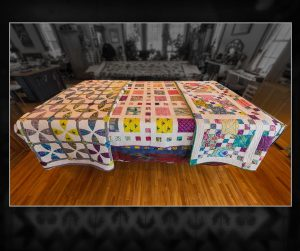Three Modern Quilts, all queen size and custom machine quilted