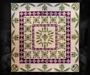 "Thistle Medallion. 98""X98"", machine appliqué and custom machine quilted."