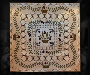 "Neutral Medallion - 92"" x 92"" - hand appliqué and densely hand quilted."
