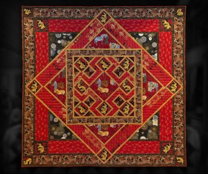 "Chinese Medallion - 88"" x 88"" - pieced quilt with custom machine quilting."
