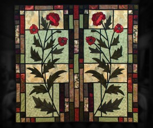 "Stained Glass with Poppies - 49"" x 47"" - machine piecing and appliqué,custom machine quilted."