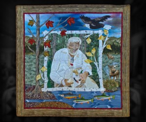 Bill and Shirley - In this appliqué wall quilt I portrayed my neighbour and his dog in their environment.