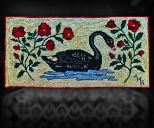 "Black Swan - 25"" x 49"" - wool hooked rug suitable for the floor or wall."