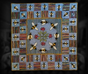 Busy Bees - Wool hooked floor rug.