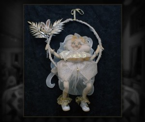 "The White Fairy - 22"" x 32"" - A whimsical cloth and clay doll who would much rather swing than fly."