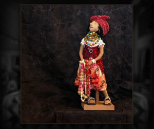 "The Bead Seller - 19"" - cloth doll."
