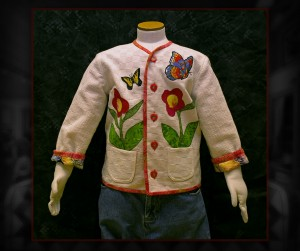 One of a kind child's jacket, size 3-4 Toddler. Machine appliqué on cotton, lined with cotton.